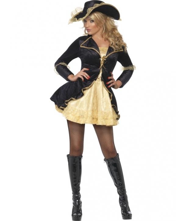 Costum carnaval Pirata neagra cu auriu