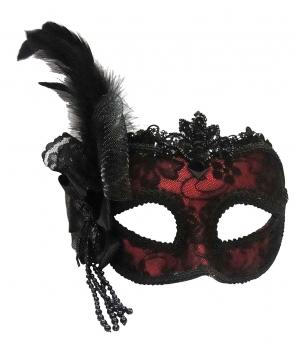 Masca de carnaval rosu cu negru