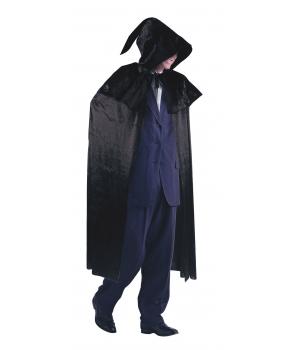 Pelerina Halloween neagra cu gluga din catifea