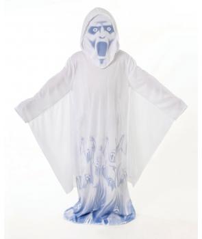 Costum Halloween copii fantoma alba cu imprimeu