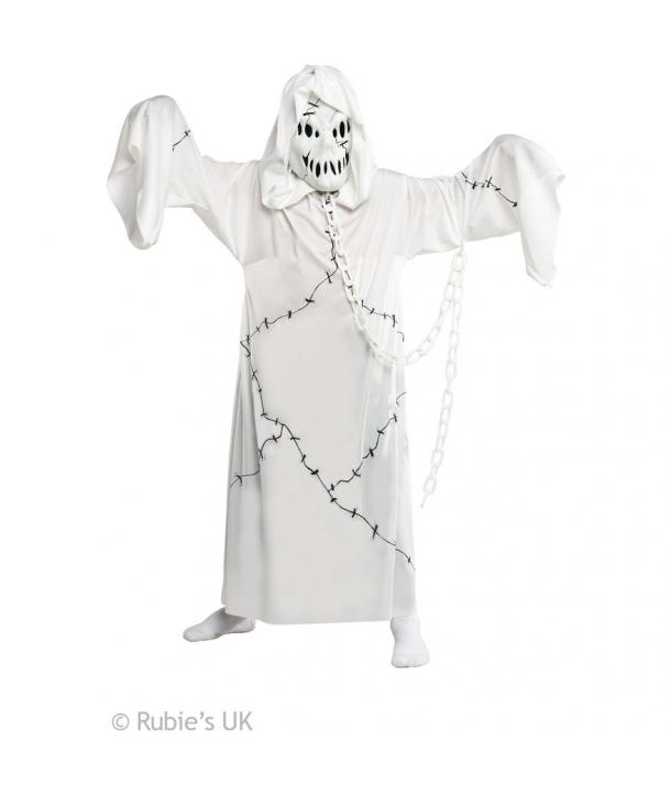 Costum baieti fantoma alba cu lant Halloween