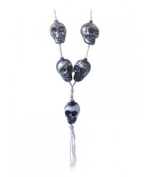 Colier Halloween cu cranii argintiu