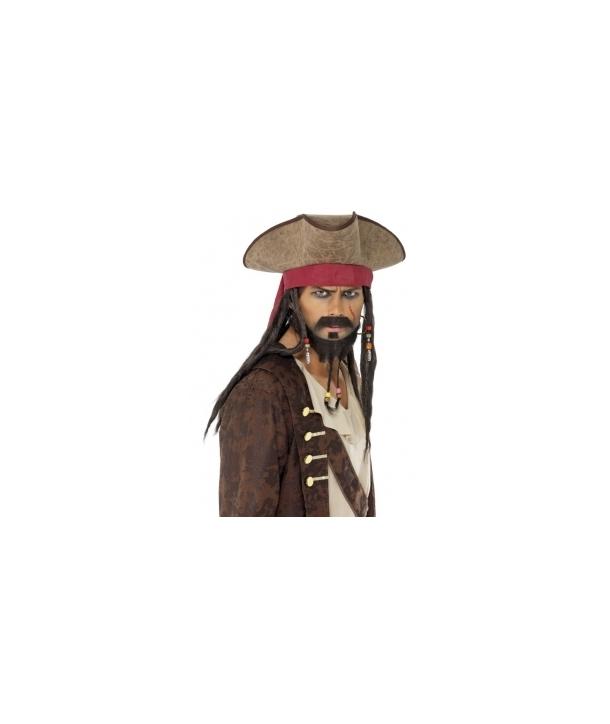 Palarie pirat cu plete Halloween