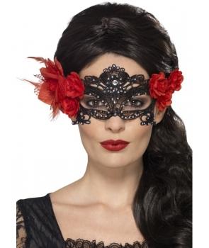 Masca de carnaval dantela cu floare rosie
