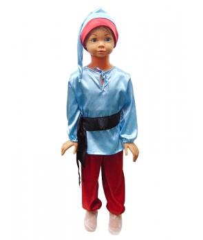Costum carnaval copii pitic cu albastru si rosu