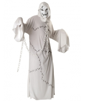 Costum Halloween barbati fantoma alba cu lant