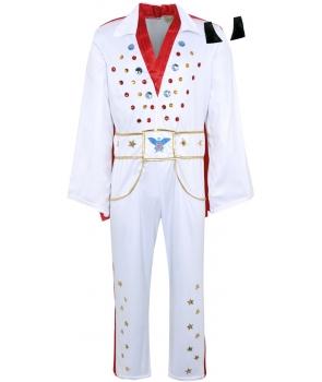 Costum carnaval barbati Elvis alb