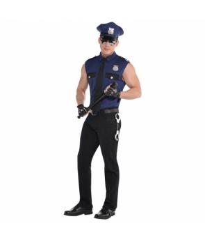 Costum carnaval barbati politist albastru