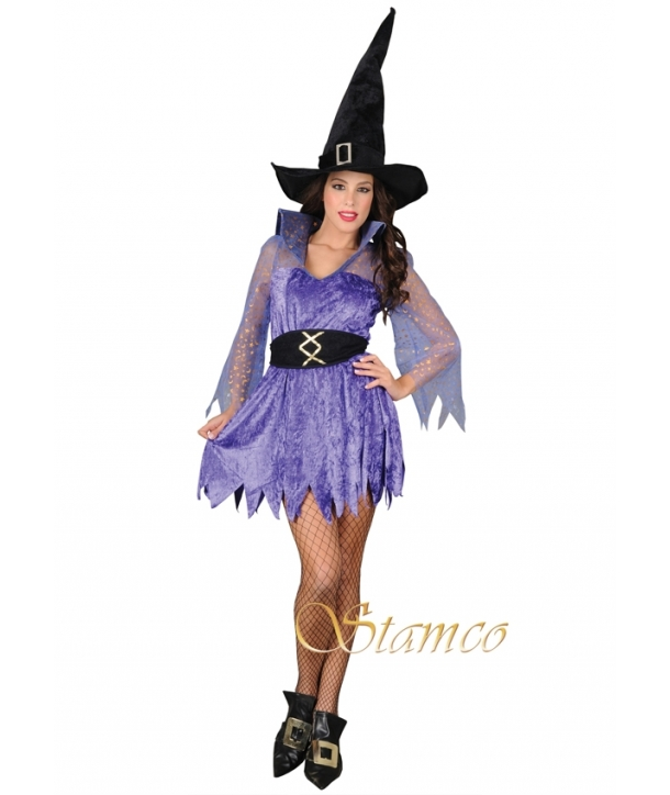 Costum femei vrajitoare albastra Halloween