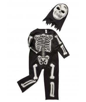 Costum Halloween baieti schelet cu masca