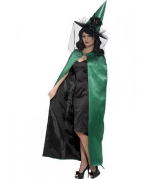 Pelerina Halloween femei verde reversibila