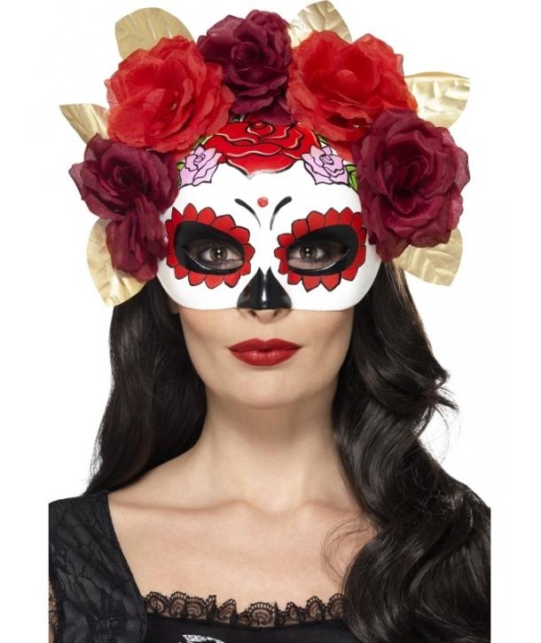 Masca petrecere Day of the dead cu trandafiri