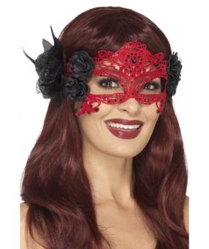 Masca de carnaval din dantela cu flori