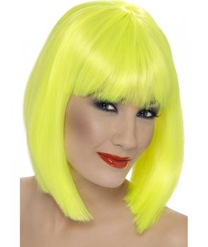 Peruca petrecere Glam galben neon