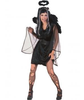 Costum Halloween femei inger negru scurt