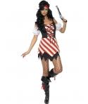 Costum carnaval femei pirata rosu cu alb
