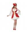 Costum femei pirata alb cu rosu Halloween