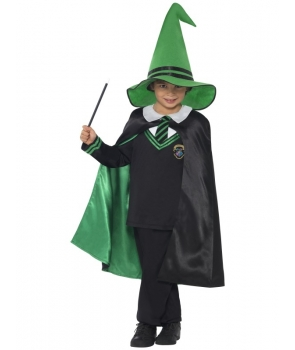 Costum Halloween baieti vrajitor verde