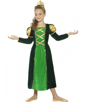 Costum carnaval fete printesa medievala verde