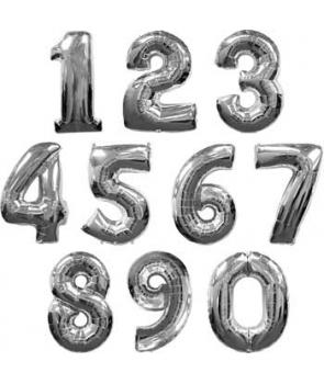 Baloane folie cifre argintii
