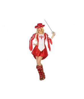 Costum carnaval femeie Muschetar rosu