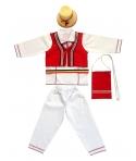 Costum national baieti, cu rosu, complet 6 piese