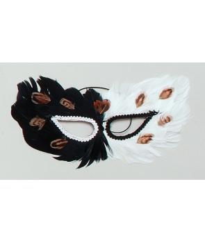 Masca carnaval cu pene - alba