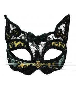 Masca carnaval - dantela si leopard print
