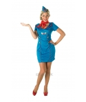 Costum carnaval femei Stewardesa albastra