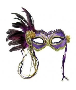 Masca carnaval mov cu auriu