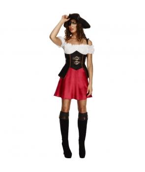 Costum carnaval femei pirata cu rosu