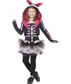 Costum Halloween fete schelet iepuras