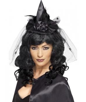 Palarie vrajitoare mini neagra Halloween