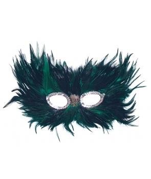 Masca de carnaval cu pene verde