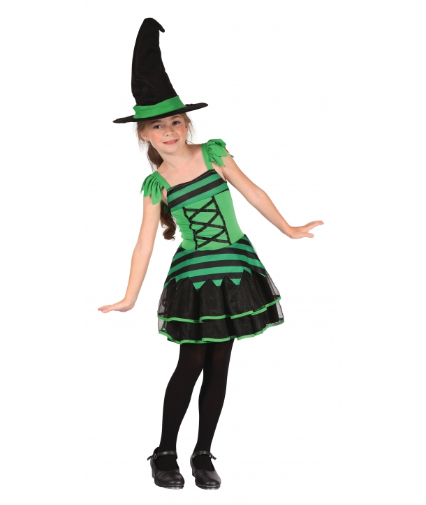 Costum Halloween fete vrajitoare cu verde