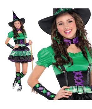Costum Halloween adolescente vrajitoare verde