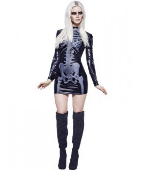 Costum Halloween femei schelet lucios rochie
