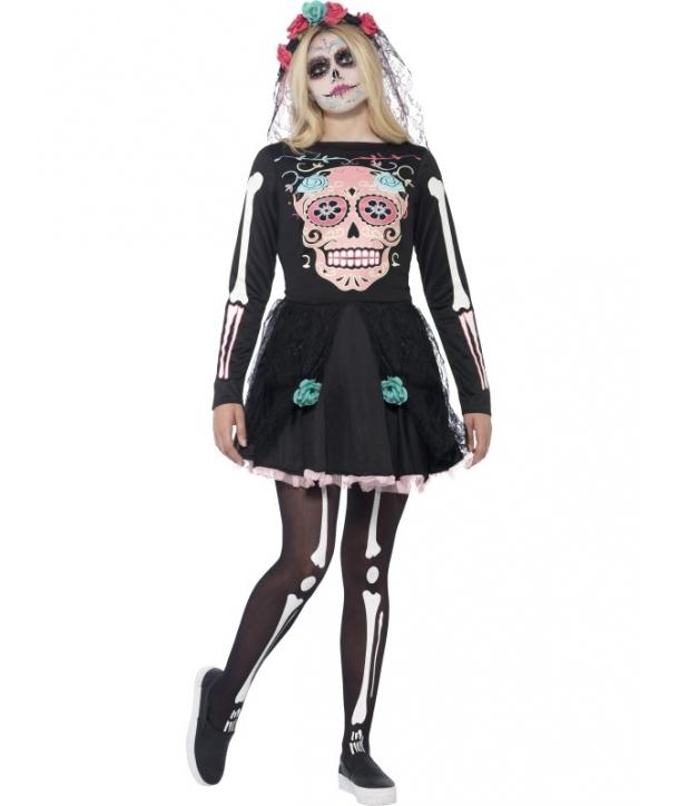 Costum Halloween adolescente schelet rochie