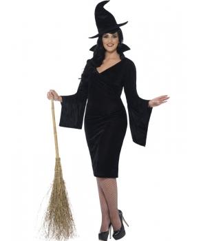 Costum Halloween femei vrajitoare cu palarie neagra