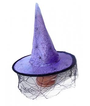 Palarie Halloween vrajitoare mov cu panza