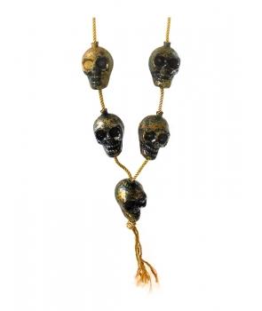 Colier Halloween cu cranii auriu