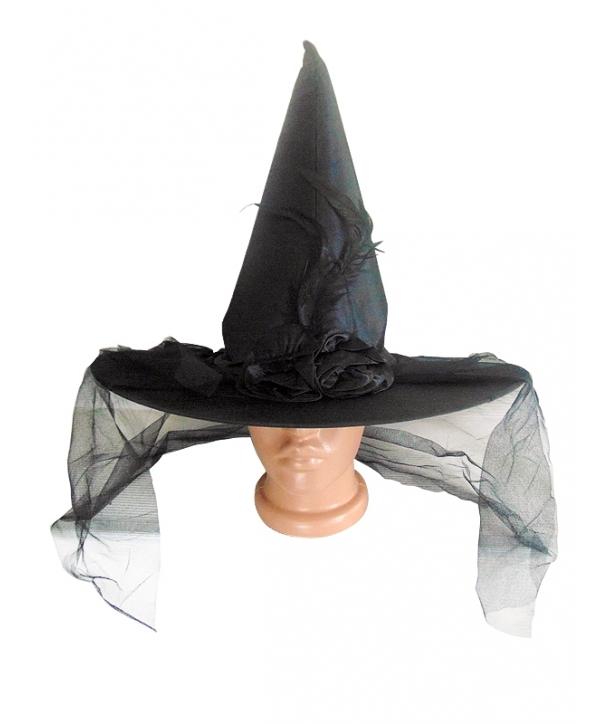 Palarie Halloween vrajitoare cu floare neagra