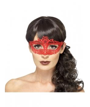 Masca de carnaval dantela rosie