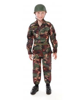Costum carnaval baieti soldat camuflaj cu casca