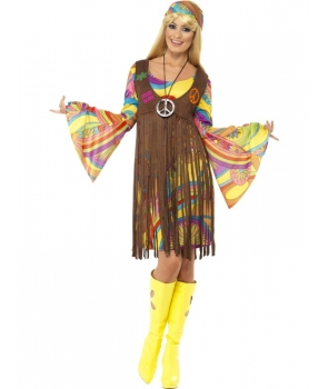 Costum carnaval femei Hippie cu vesta
