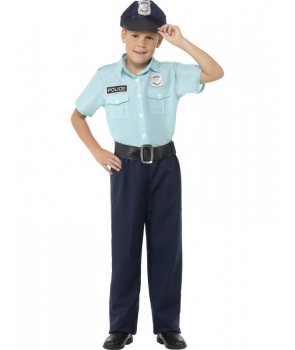 Costum carnaval baieti politist albastru