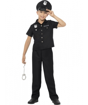 Costum carnaval baieti politist cu camasa neagra