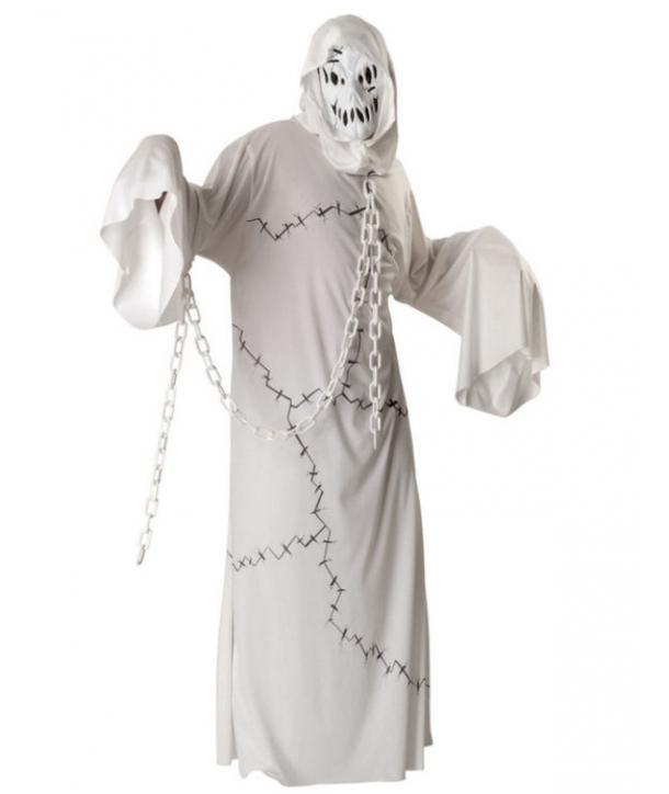Costum barbati fantoma alba cu lant Halloween