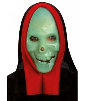 Masca Halloween schelet fosforescent cu gluga