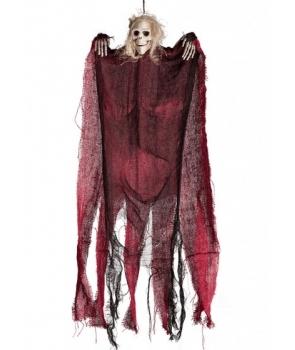 Decor Halloween schelet negru cu rosu